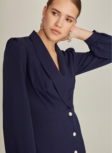 NGSTYLE Kruvaze Yaka İnci Düğmeli Elbise İndigo
